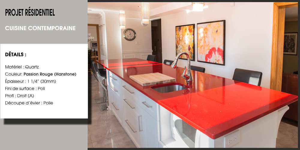 ilot en quartz passion rouge hanstone