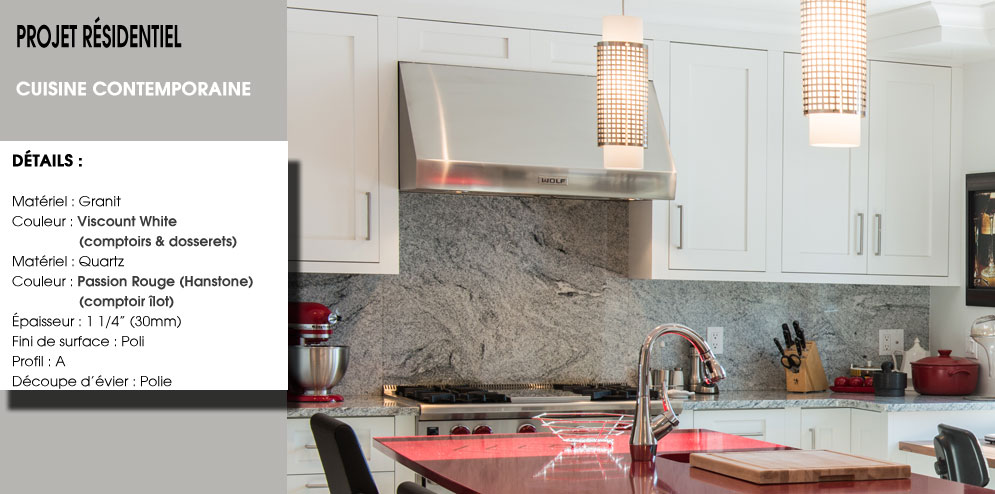 comptoir de cuisine en quartz passion rouge et granit viscount white
